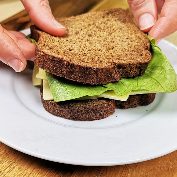 Keto bread being used in a sandwich