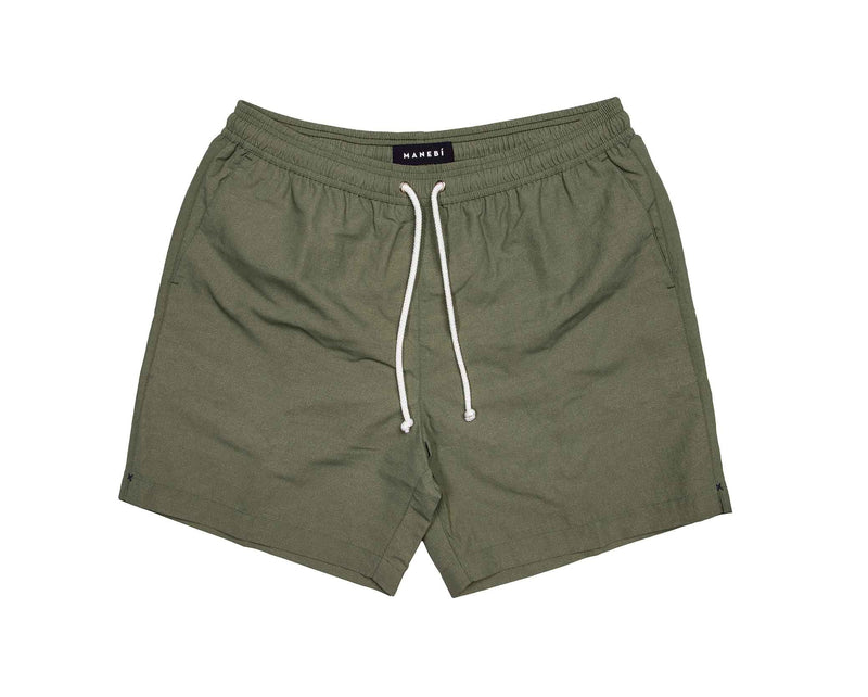 Swim Shorts - Kaki Green Wash Out