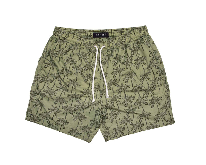 Swim Shorts - Kaki Green Palms Recycled Ultra Light