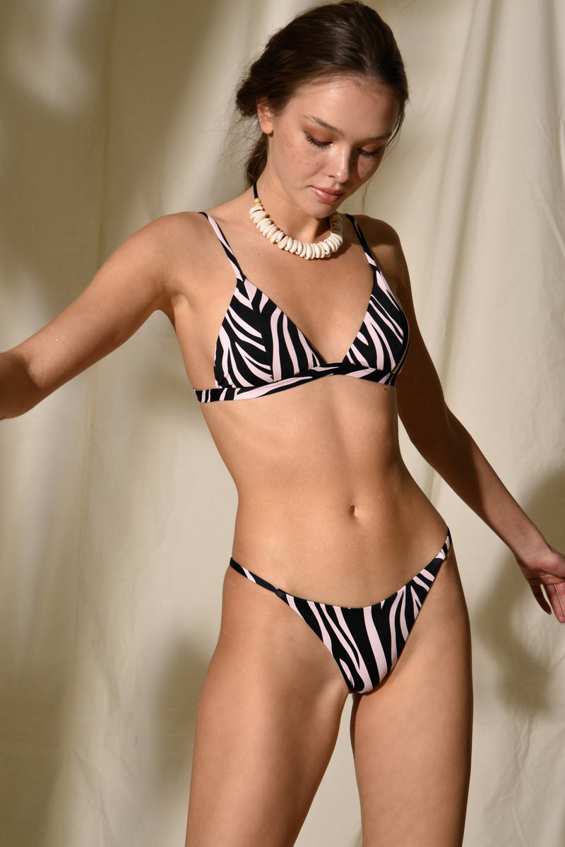 Fixed Bikini Triangle - Dakota - Rose Zebra