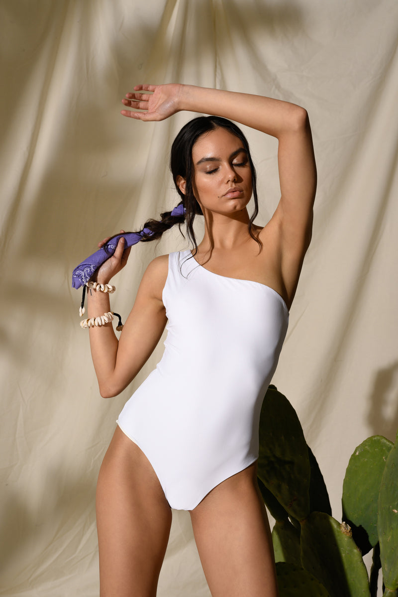 One Shoulder One-Piece - Hamptons - White