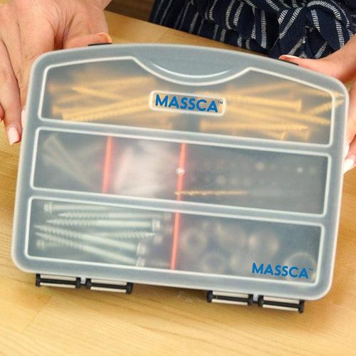 Hardware Box Storage. Hinged Box Made of Durable Plastic in a Slim Design with 10 compartments.