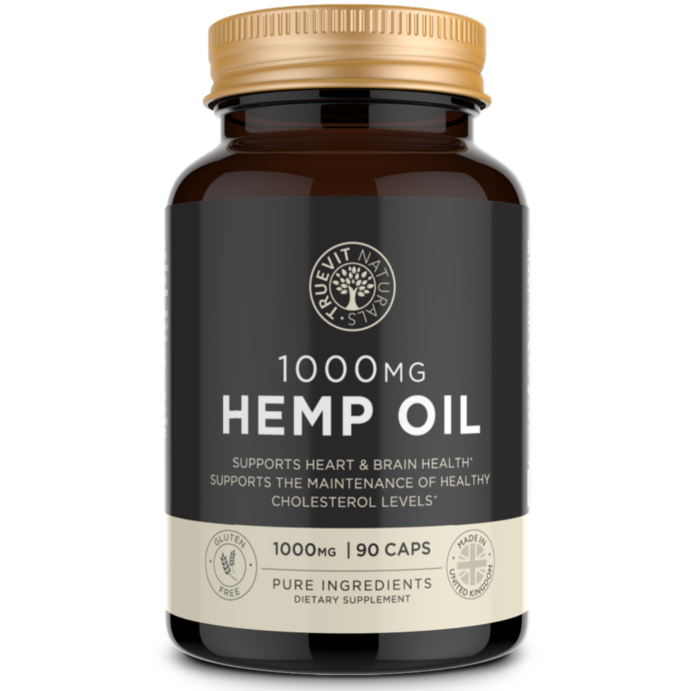 Hemp Oil Capsules 1000mg - Omega 3, 6 & 9 Supplement - truevit