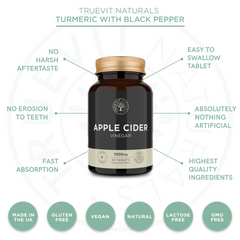 Apple Cider Vinegar Tablets - 90 Easy to Swallow Vegan Tablets - 1000mg per Serving