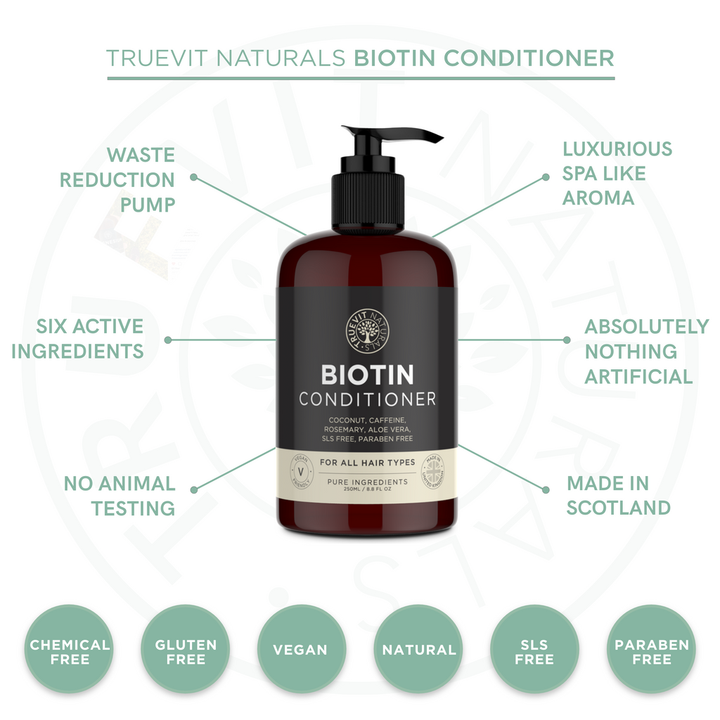 Biotin Conditioner with Coconut Oil, Rosemary and Aloe Vera - 250ml - truevit