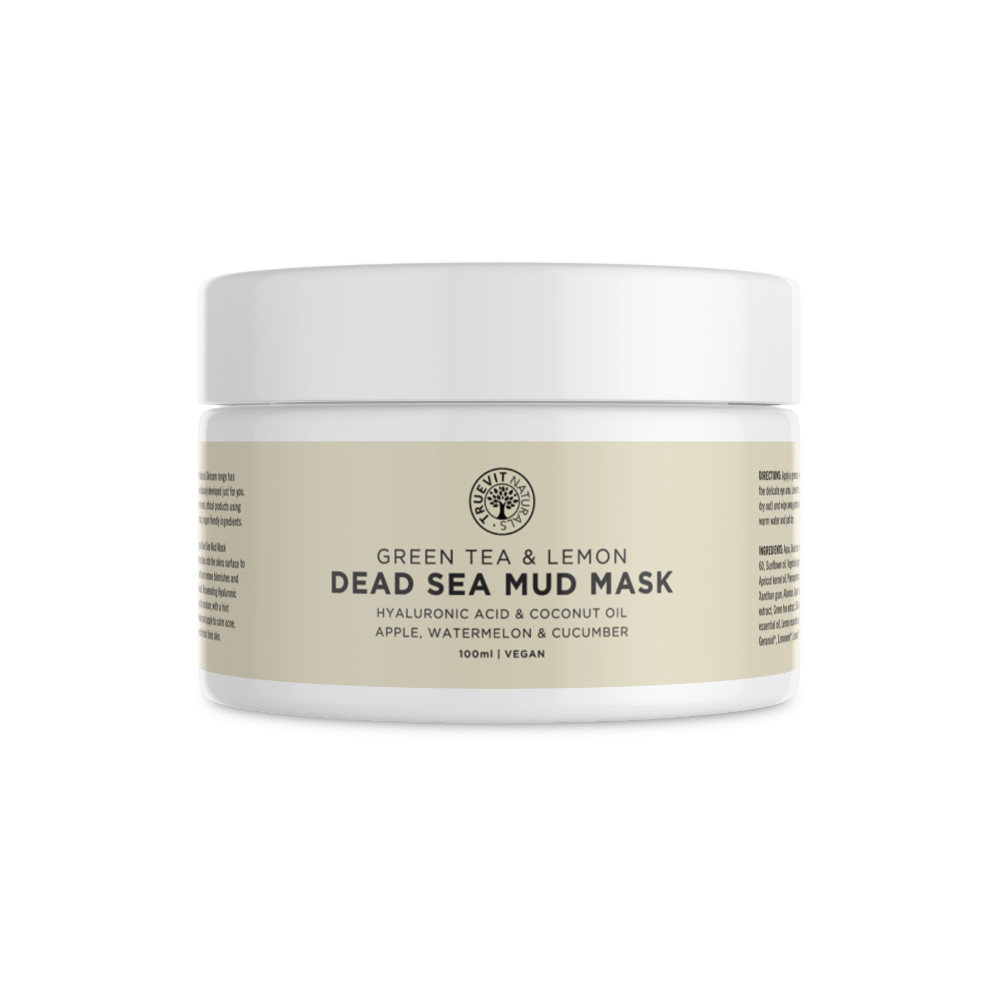 Vegan Dead Sea Mud Mask with Green Tea, Coconut Oil & Hyaluronic Acid - truevit