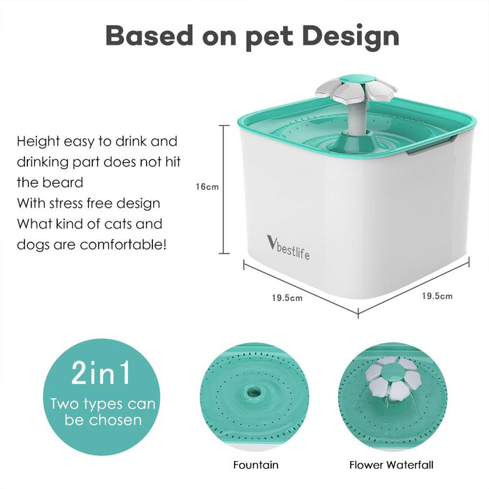 Hoison Cat and Dog Flower Fountain with Filter, Cascading Cat Fountain Holding Scent and Bacteria, Dri