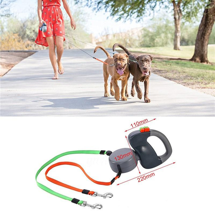 360° Tangle-Free, Heavy Duty Retractable Hoison Dog Leash with Anti-Slip Handle; One-Handed Brake, Pause, Lock. Easy Single Lock/Release Button and Ergonomic Handle