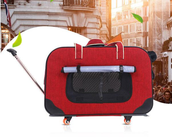 Four-wheeled Pet Trolley Pet Bag Dog Cart Foldable and Disassembled  Multiple Pet Trolley Bag Chihuahua Pet Carrier Pet Supplies
