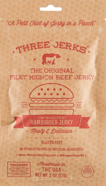 Three Jerks ~ Filet Mignon Hamburger (Beefy & Delicious) Jerky, 2 oz