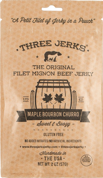 Three Jerks ~ Filet Mignon Maple Bourbon (Sweet & Boozy) Jerky, 2 oz