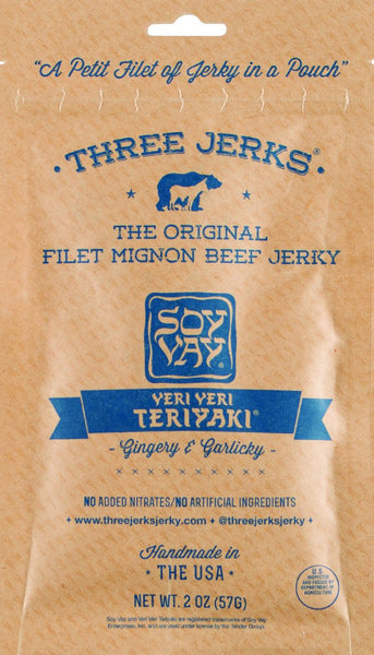 Three Jerks ~ Filet Mignon Veri Veri Teriyaki (Gingery & Garlicky) Jerky, 2 oz.