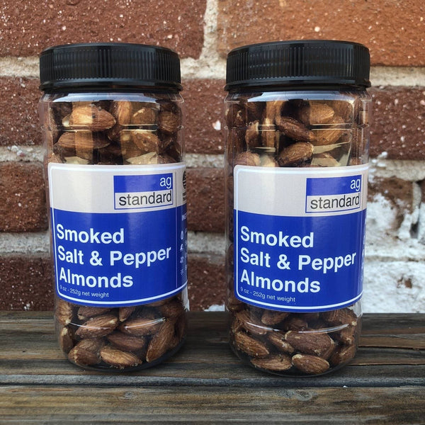 AgStandard Almond - Classic Salt and Pepper Smoked Almonds - 9 oz Jar - 6 pack