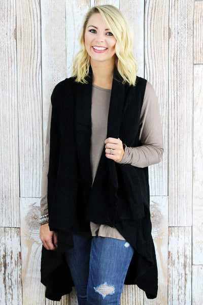 Cozy Ruffle Trim Vest - Black