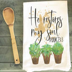 Succulents Tea Towel - He Restores My Soul - Grace Mercantile