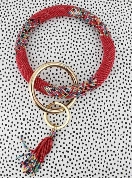 Beaded Key Bangle - Strawberry
