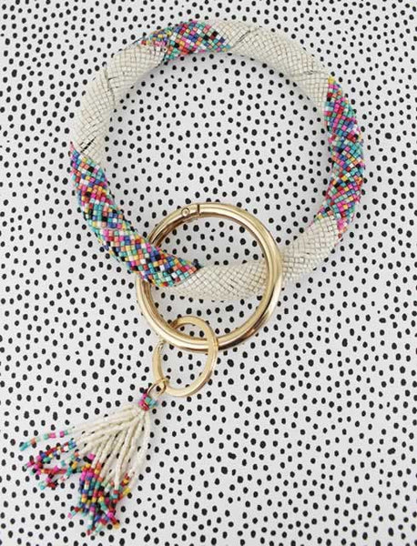 Beaded Key Bangle - Vanilla