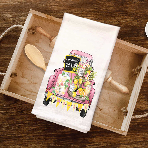 Vintage Truck Pink Lemonade Tea Towel