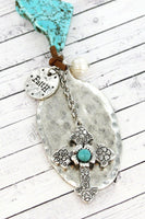 TURQUOISE STONE AND BURNISHED SILVERTONE CROSS SPOON PENDANT CORD NECKLACE