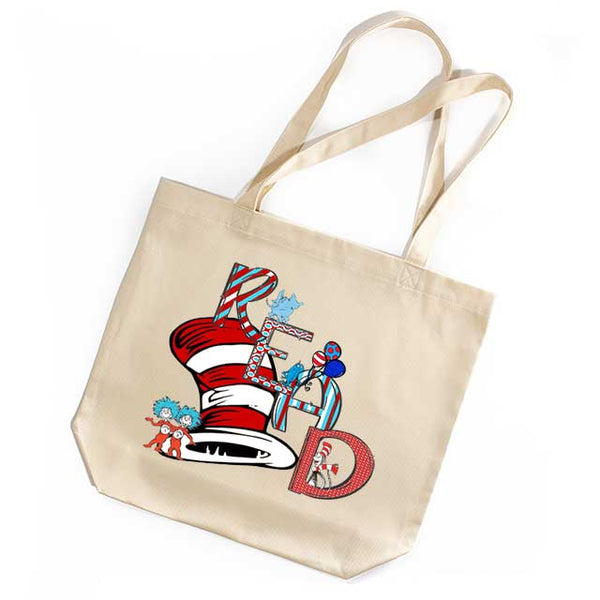Read Tote Book Bag Suess Inspired