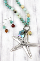 SILVERTONE 'STAY SALTY' CHARM PENDANT BEADED NECKLACE AND EARRING SET