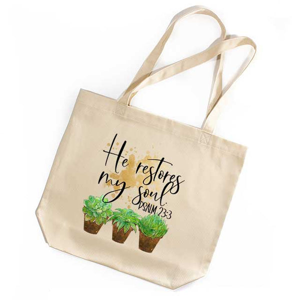 Succulents Tote Bag - Psalm 23:3 Grace Mercantile