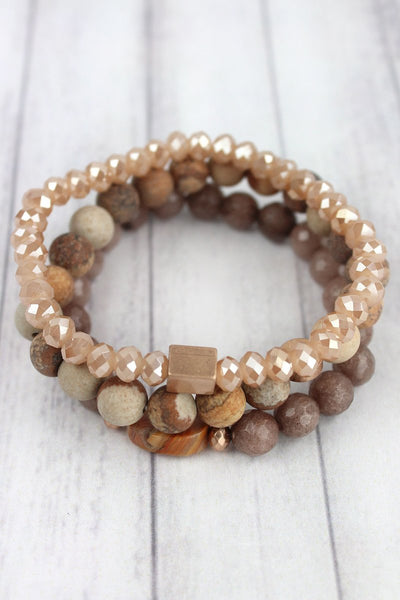 Natural and Goldtone Bead Stretch Bracelet