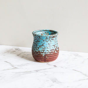 blue earthen plant pot for succulents and indoor plants