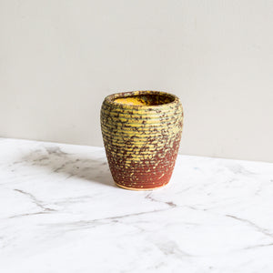 Yellow earthen plant pot for succulents and indoor plants