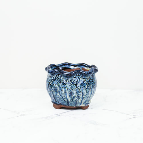 Blue glaze handmade pot for indoor plant pot for houseplants