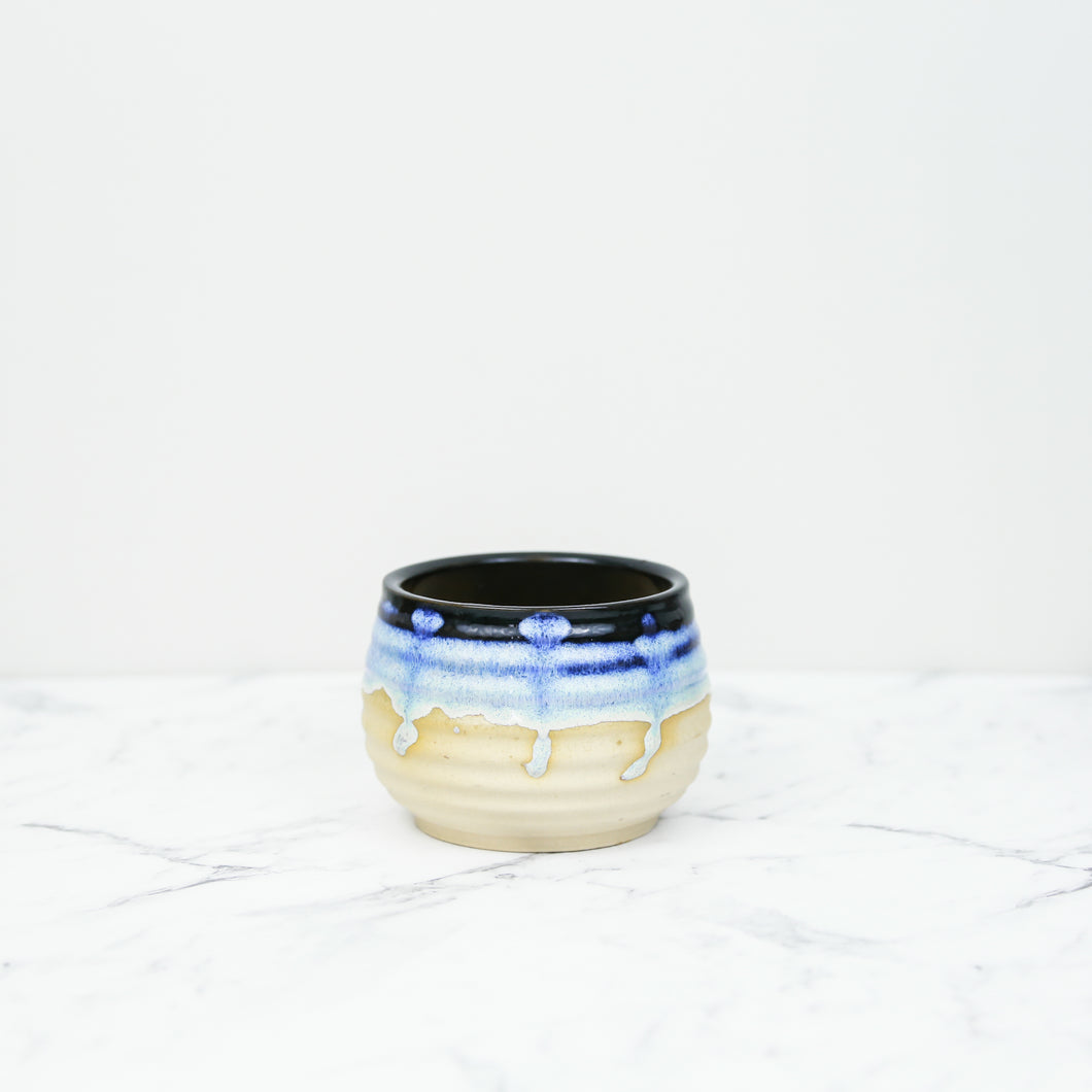 blue handmade glazed plant pot for indoor plants side view