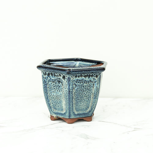 Blue glazed plant pot in hexagon shape for indoor plants