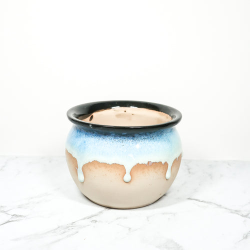 blue handmade glazed plant pot for indoor plants