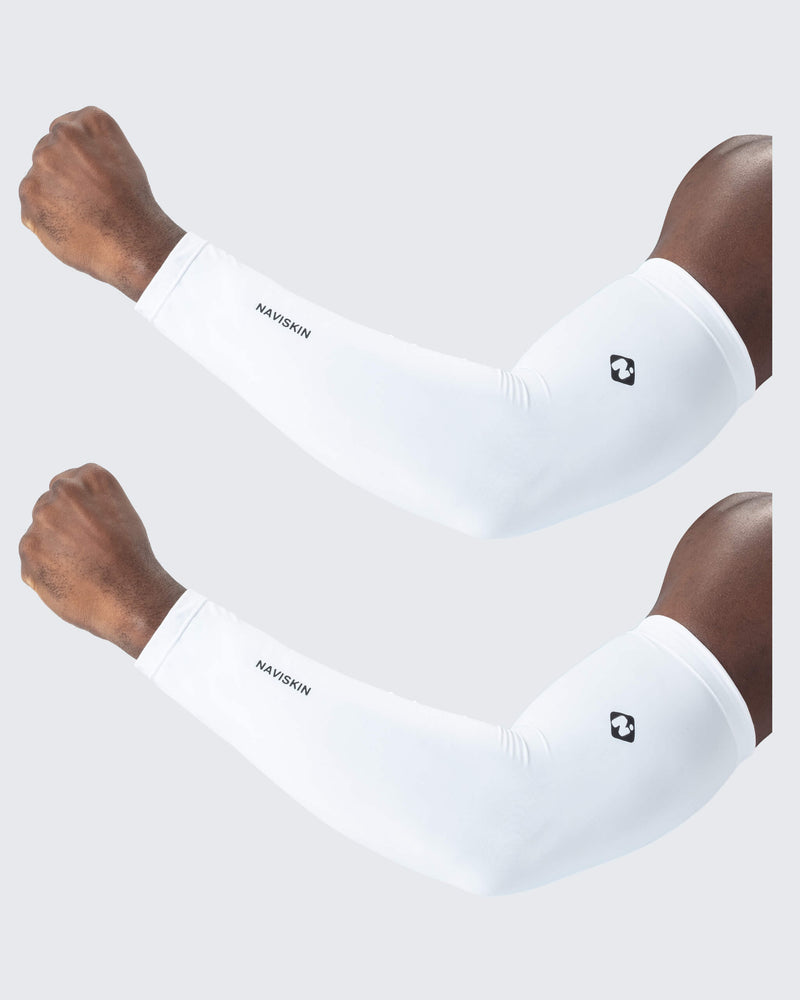 Unisex UPF 50+ Cooling Compression Arm Sleeves white