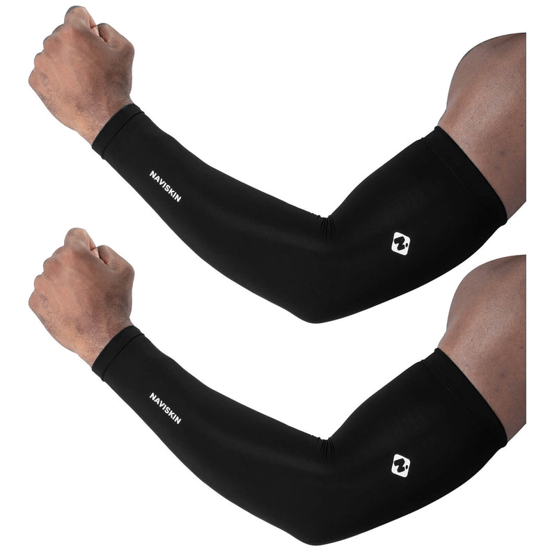Unisex UPF 50+ Cooling Compression Arm Sleeves Black