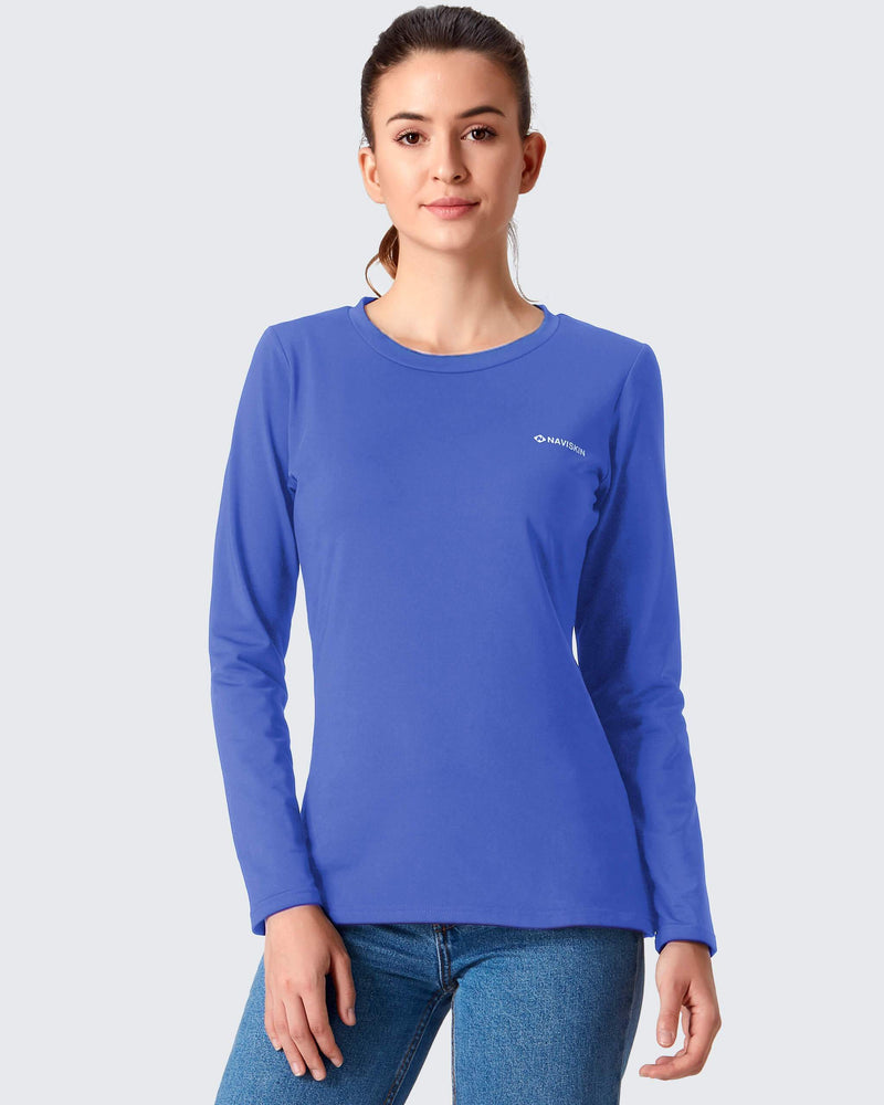Fleece Thermal Mock Neck Shirt-Naviskin