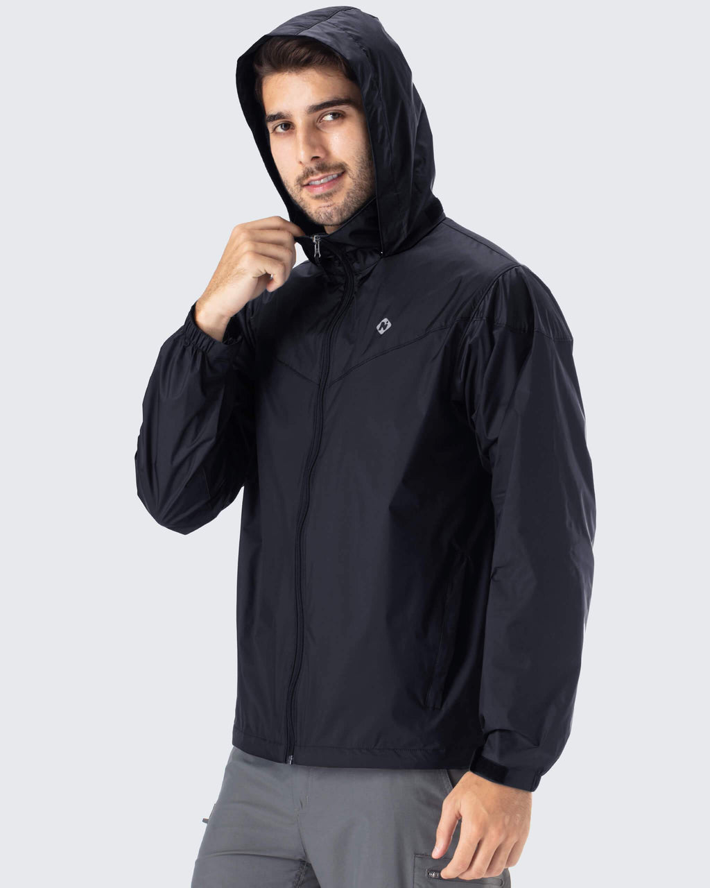 Packable Hideaway Hood Raincoat-Naviskin