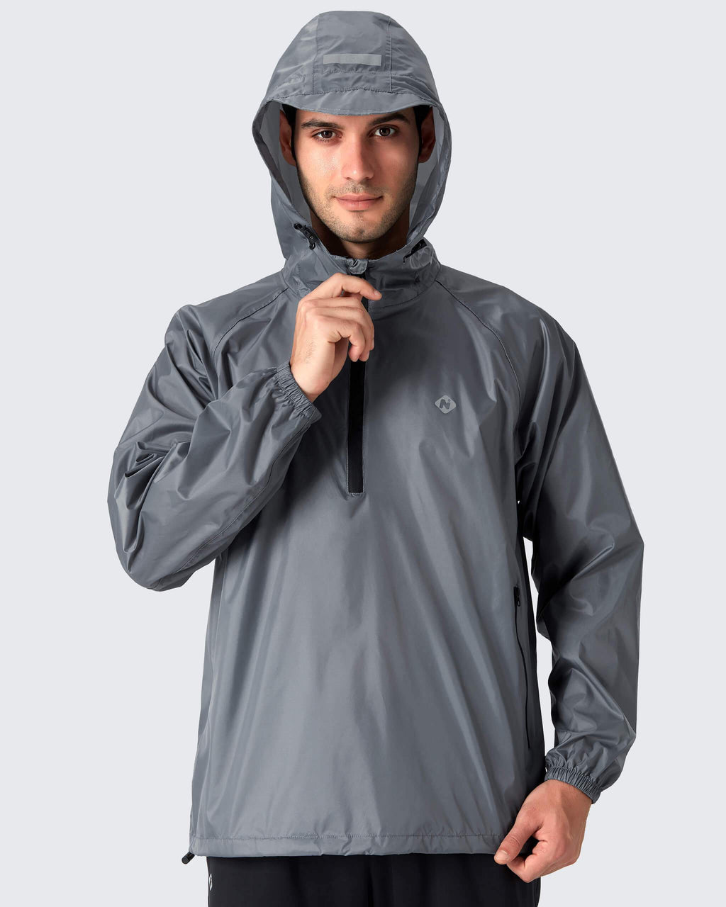 Packable Hooded Raincoat-Naviskin