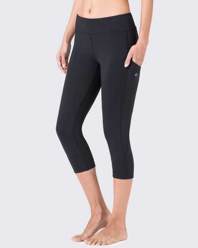 Yoga Legging Capri With Side Pockets-Naviskin