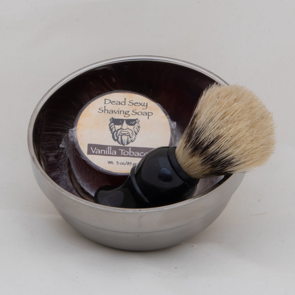 Stainless Steel Shaving Bowl with Brush and Shave Soap