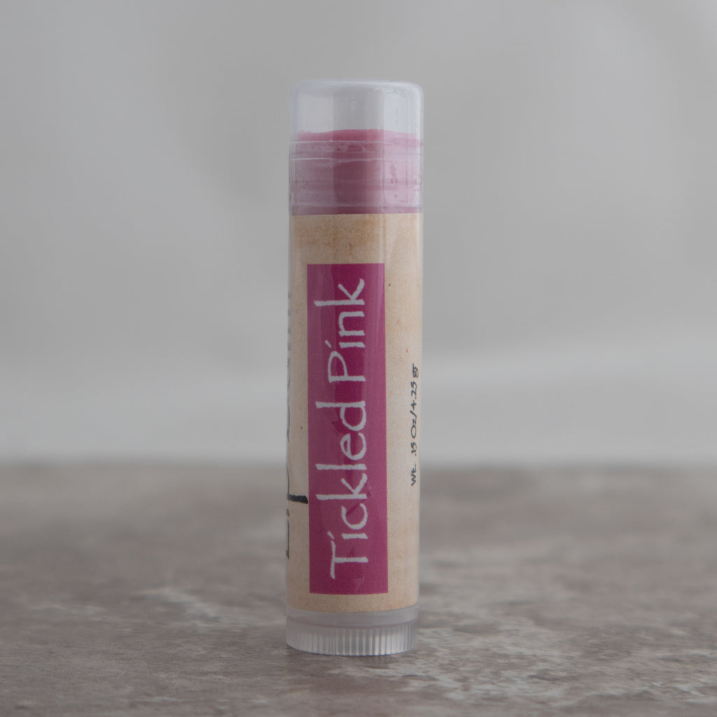 Tickled Pink Passion Fruit Flavored Tinted Lip Balm with Mango Butter
