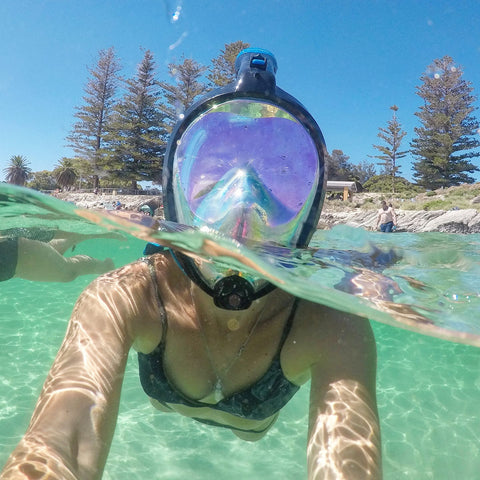 AquaMask II Rainbow Mirror Lens - Full Face Snorkel Masks (White-Pink)