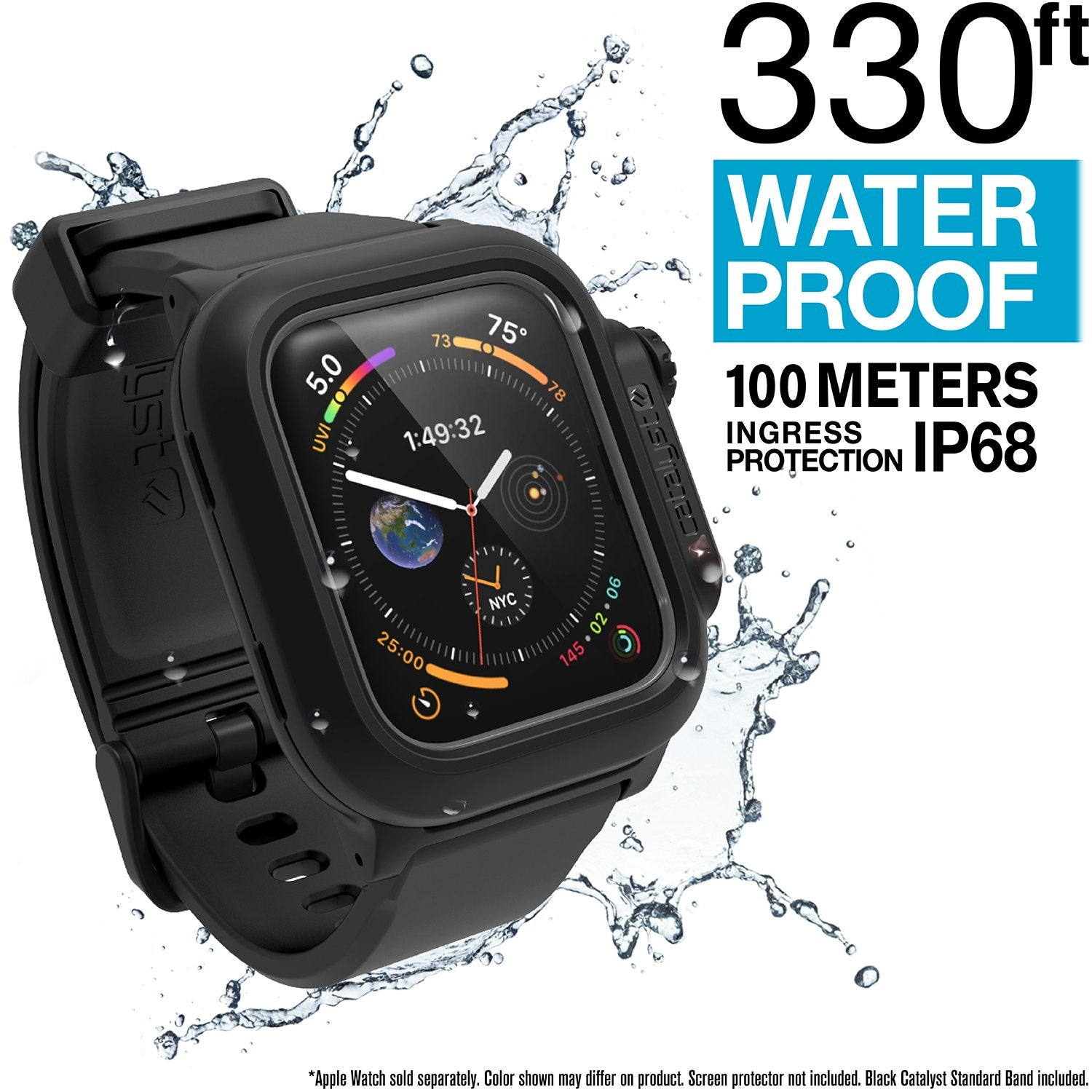 Catalyst Waterproof Case for Apple Watch Series SE, 6, 5 & 4 for 44mm - Stealth Black