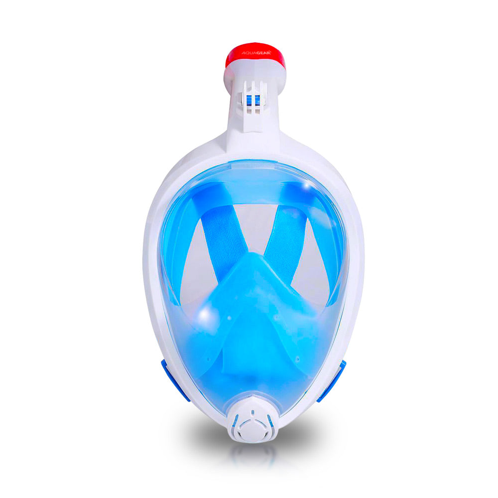AquaMask II – Full Face Snorkel Mask (White-Blue)