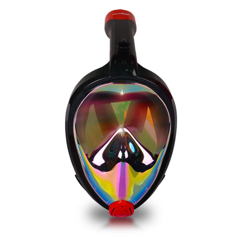 AquaMask II Rainbow Mirror Lens - Full Face Snorkel Masks (Black-Red)