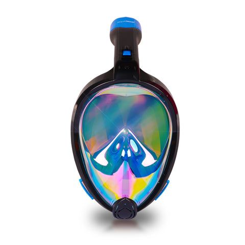 AquaMask II Rainbow Mirror Lens - Full Face Snorkel Masks (Black-Blue)