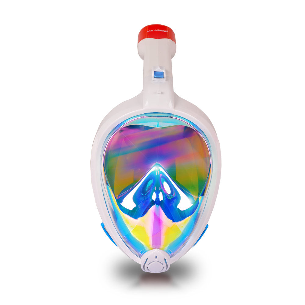 AquaMask II Rainbow Mirror Lens - Full Face Snorkel Masks (White-Blue)