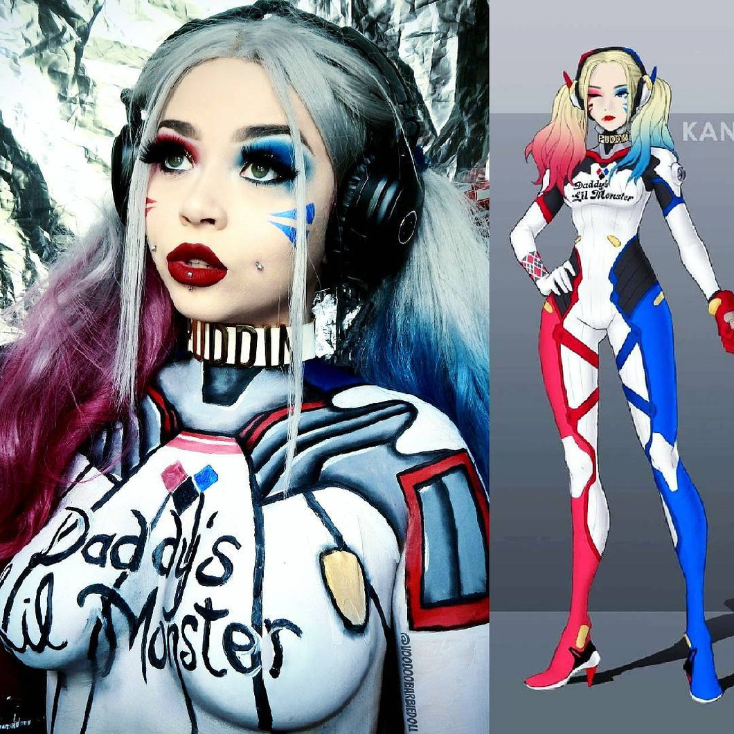 Harley Quinn Half Blue Half Pink Hair Synthetic Lace Front Wig