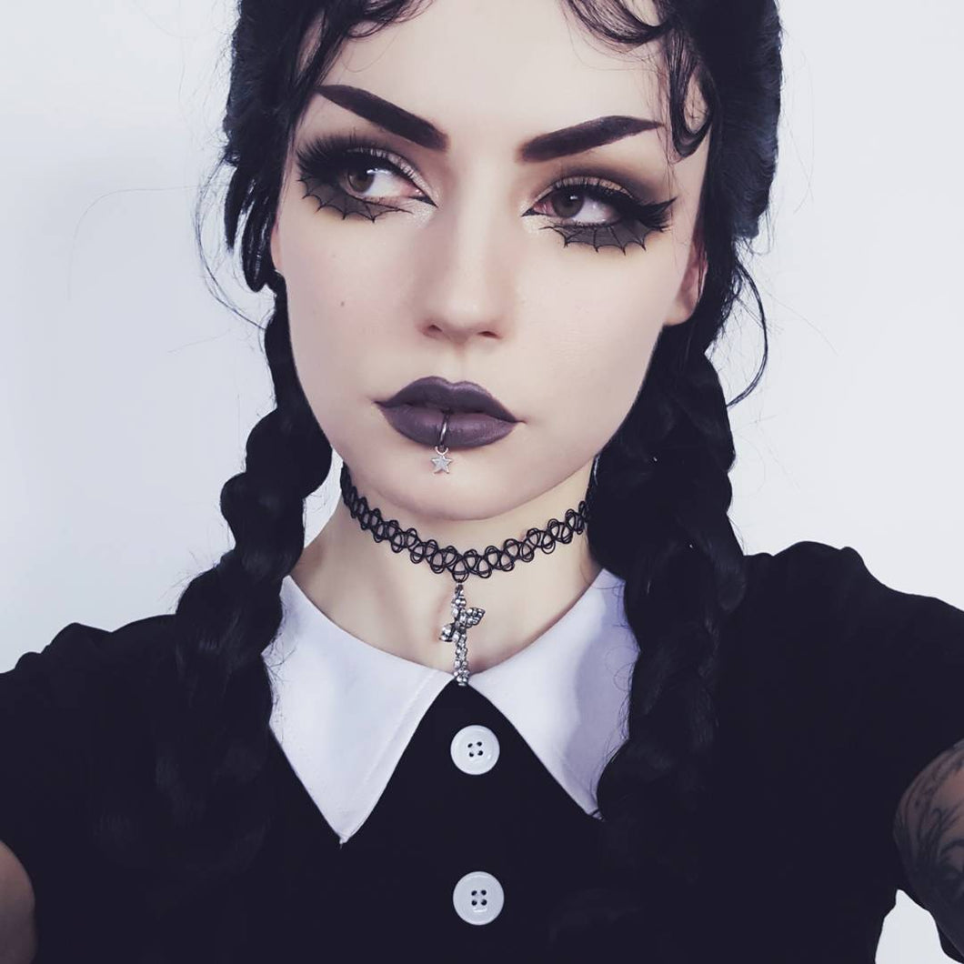 Wednesday Addams French Braids Black Synthetic Lace Front Wig
