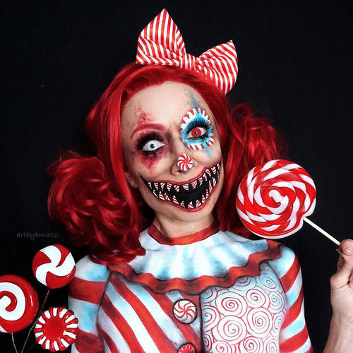 Halloween Candy Cane Clown Red Hair Synthetic Lace Front Wig